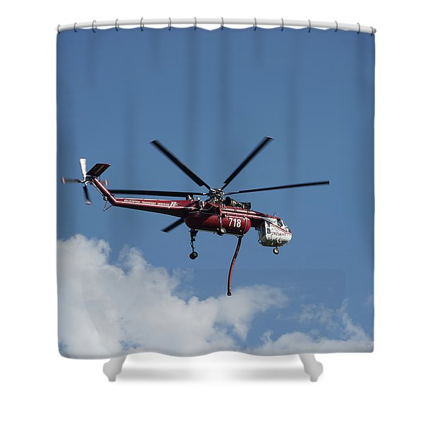 Skycrane Works The Red Canyon Fire Shower Curtain