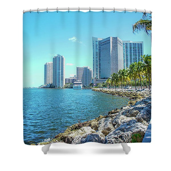 Skyline And Bayfront Park, Miami, Florida Shower Curtain