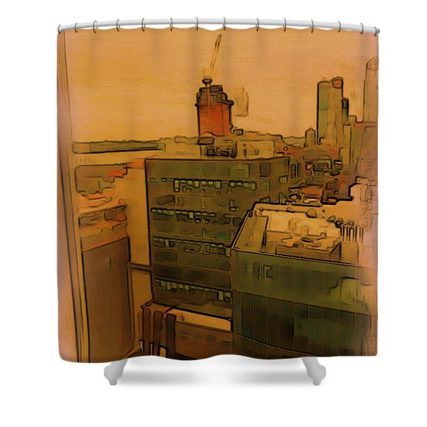Shower Curtain featuring the digital art Skyline Crain by Tristan Armstrong