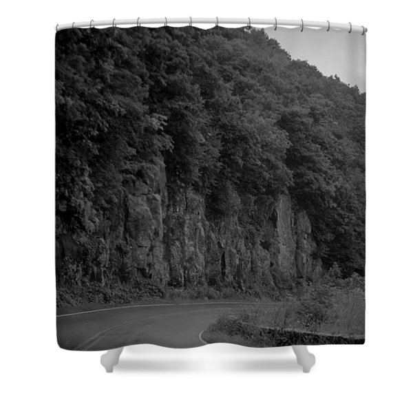 Skyline Drive In Black And White Shower Curtain
