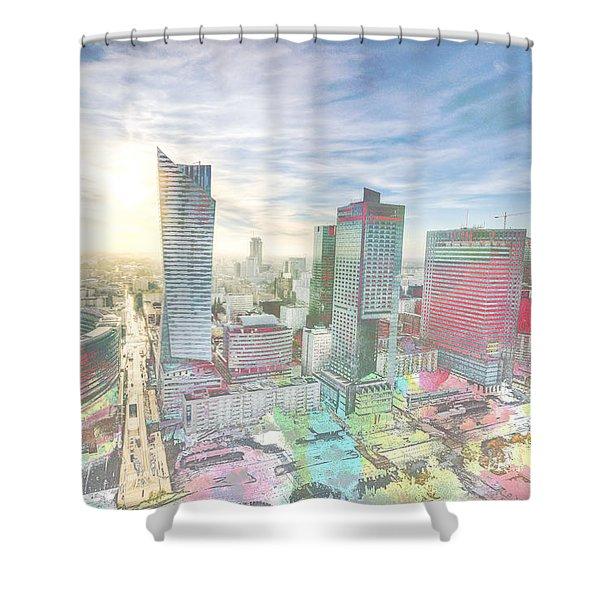 Skyline Of Warsaw Poland Shower Curtain