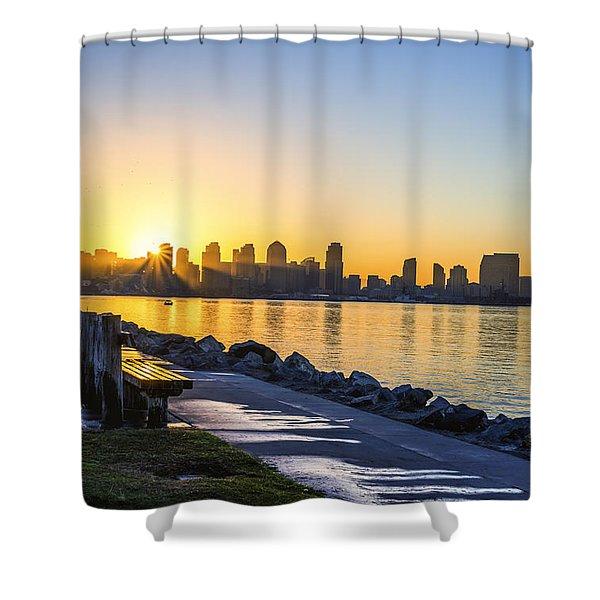 Divine Skyline Sunrise Shower Curtain