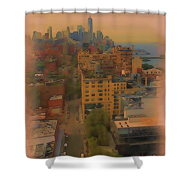 Shower Curtain featuring the digital art Skyline by Tristan Armstrong