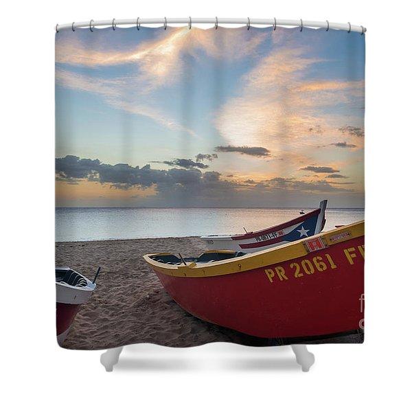Sleeping Boats On The Beach Shower Curtain