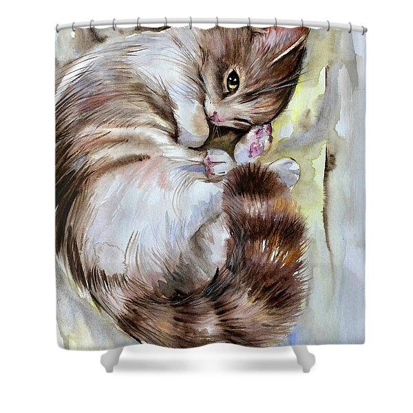 Sleepy Cat 2 Shower Curtain