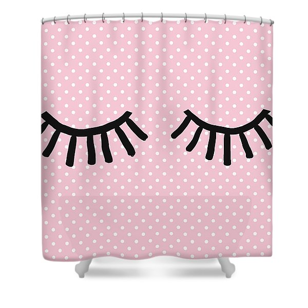 Sleepy Eyes And Polka Dots- Art By Linda Woods Shower Curtain