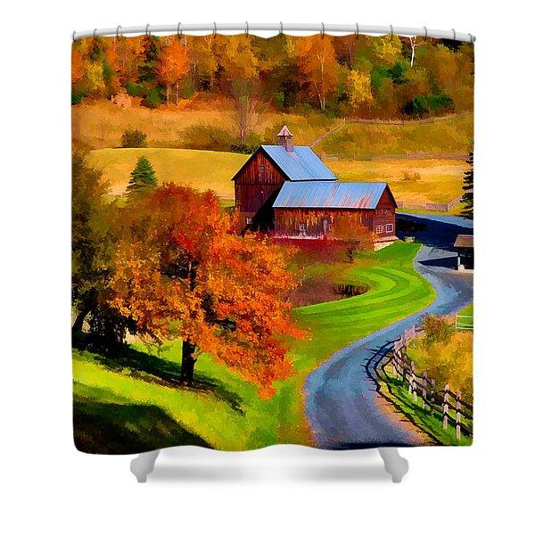 Digital Painting Of Sleepy Hollow Farm Shower Curtain