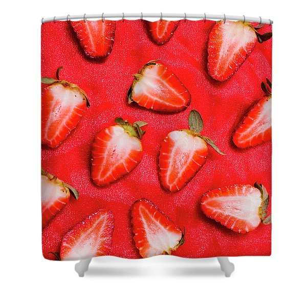 Sliced Red Strawberry Background Shower Curtain
