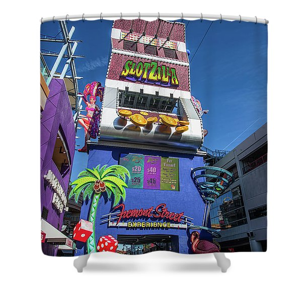 Slotzilla Fremont Street In The Afternoon Shower Curtain
