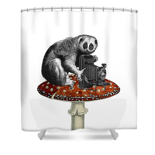 Slow Loris With Antique Camera Shower Curtain