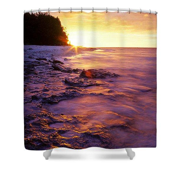 Slow Ocean Sunset Shower Curtain