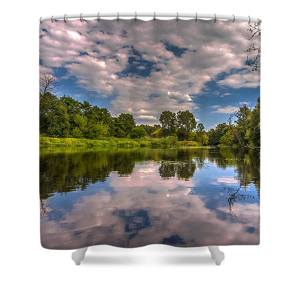 Slow River Reflections Shower Curtain