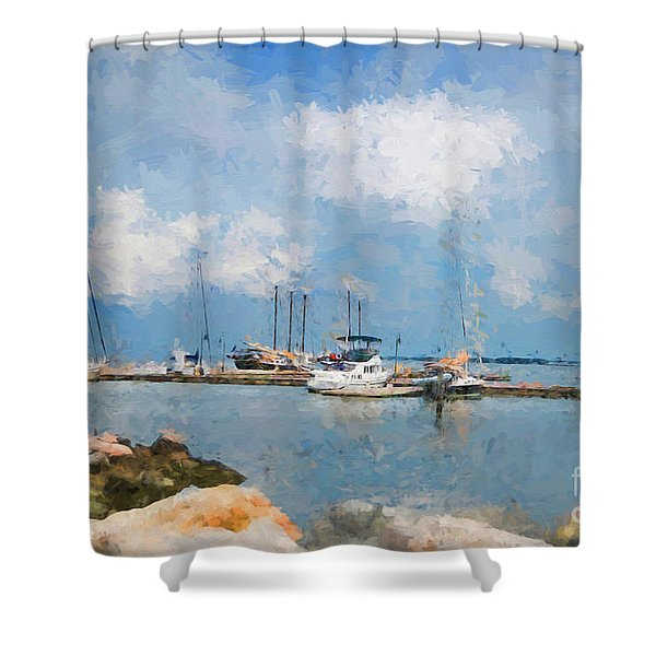 Small Dock With Boats Shower Curtain