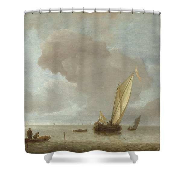 Small Dutch Vessel Before A Light Breeze  Shower Curtain