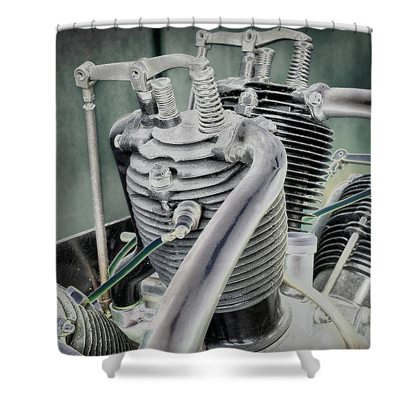 Small Radial Engine Shower Curtain