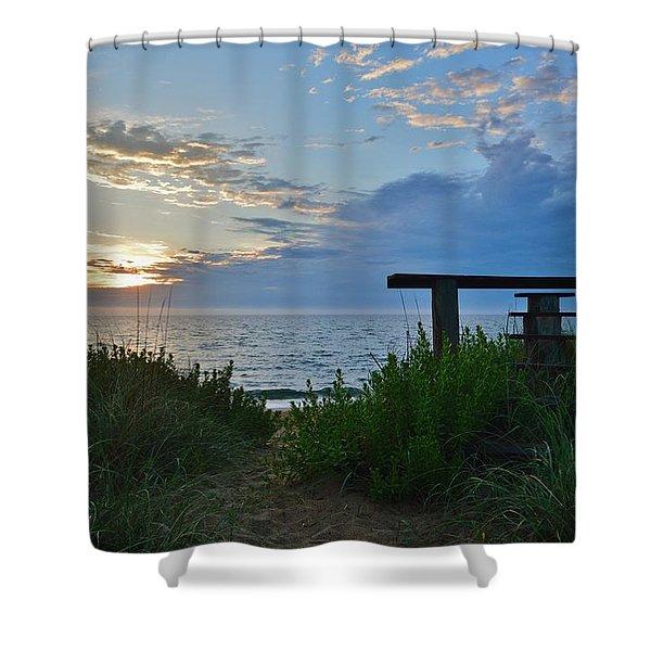 Small World Sunrise   Shower Curtain
