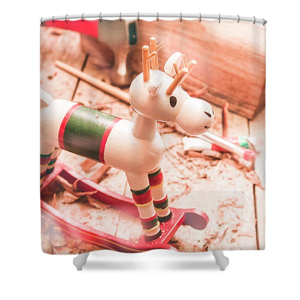 Small Xmas Reindeer On Wood Shavings In Workshop Shower Curtain