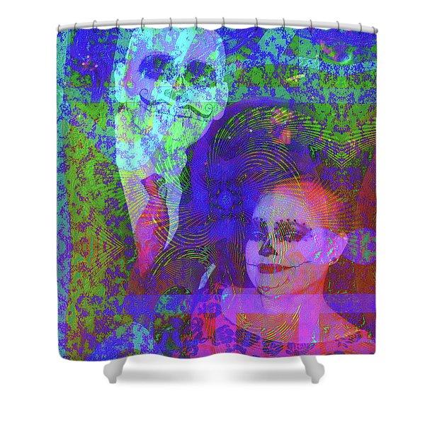 Shower Curtain featuring the digital art Smiles by Visual Artist Frank Bonilla