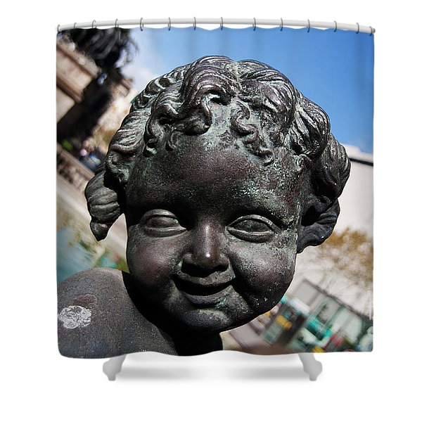 Shower Curtain featuring the photograph Smiling Cherub by Agusti Pardo Rossello