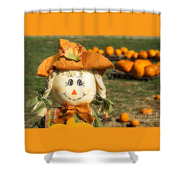 Smiling Scarecrow With Pumpkins Shower Curtain
