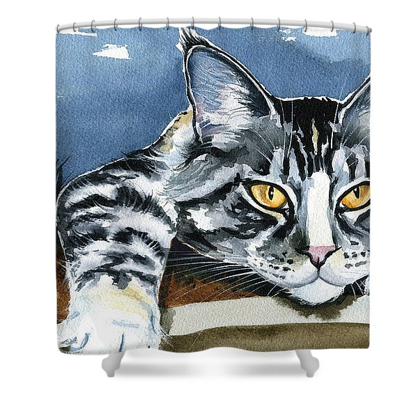 Smilla - Maine Coon Cat Painting Shower Curtain