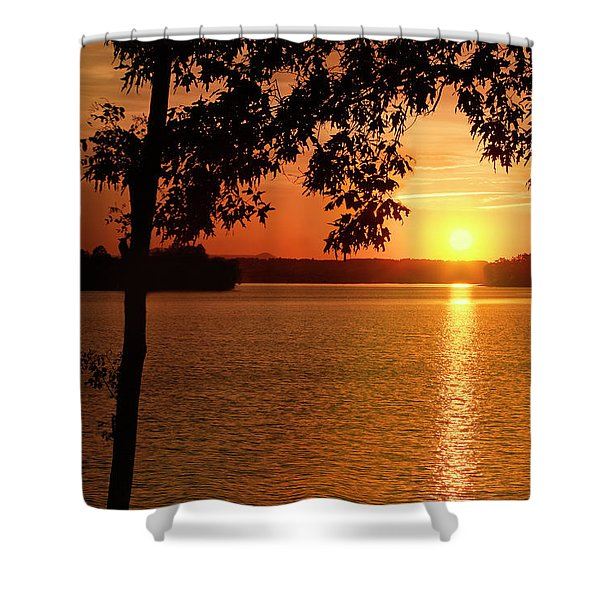 Smith Mountain Lake Silhouette Sunset Shower Curtain
