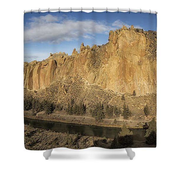 Smith Rock And Crooked River Panorama Shower Curtain