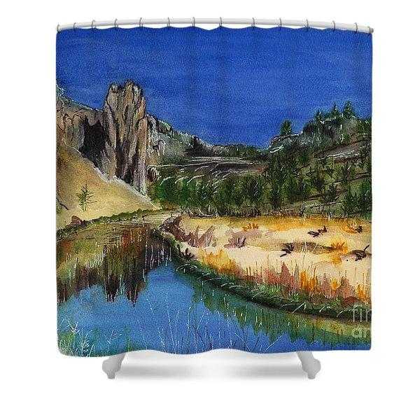 Smith Rock State Park Near Redmond, Oregon Shower Curtain