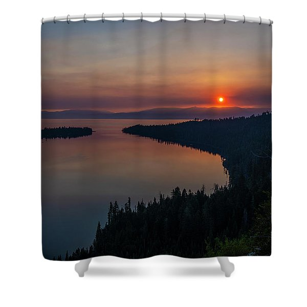 Smoke-diffused Sun At Emerald Bay Shower Curtain