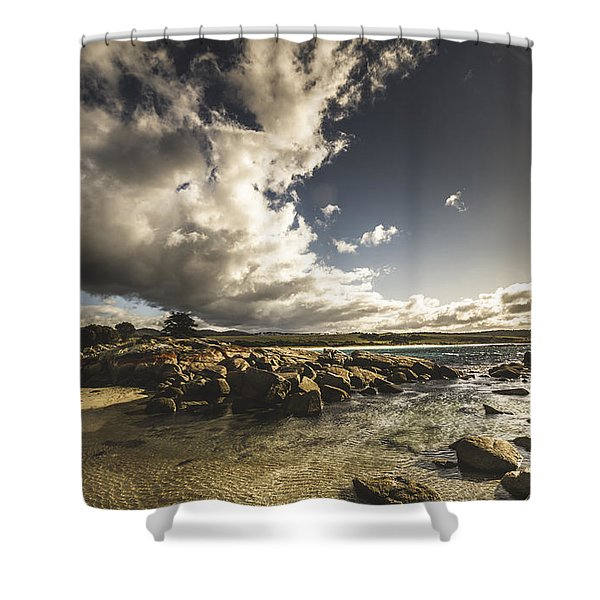 Smoke Like Clouds On The Bay Of Fires Shower Curtain