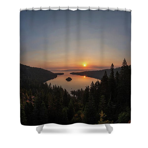 Smokey Sunrise At Emerald Bay Shower Curtain