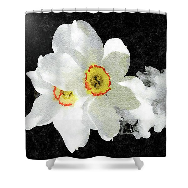Smokey White Floral Shower Curtain