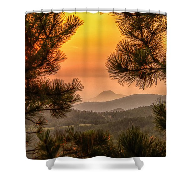 Smoky Black Hills Sunrise Shower Curtain