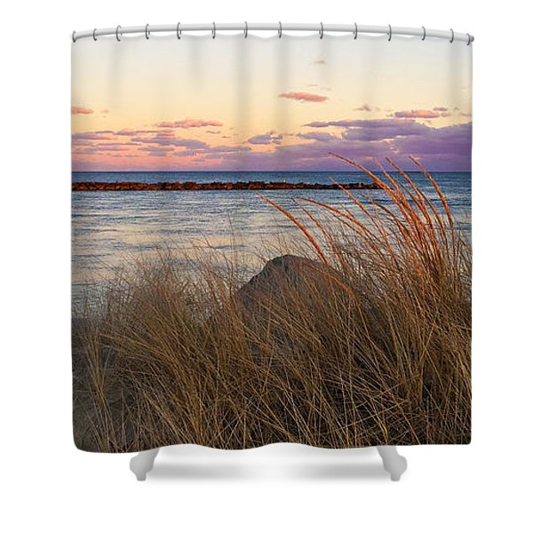Smugglers Beach Sunset Shower Curtain