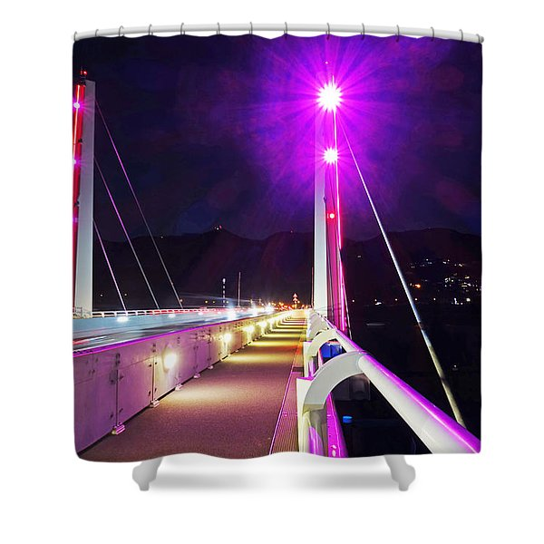 Sxm Saint Martin Bridge Lit Up At Night Shower Curtain