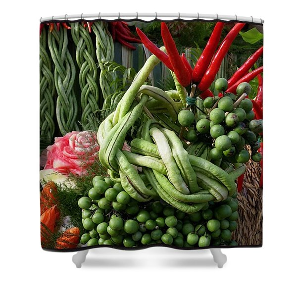 Shower Curtain featuring the photograph Snake Beans. At The Surin Elephant by Mr Photojimsf