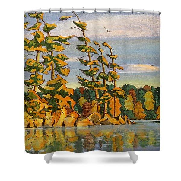 Snake Island In Fall Sunset Shower Curtain