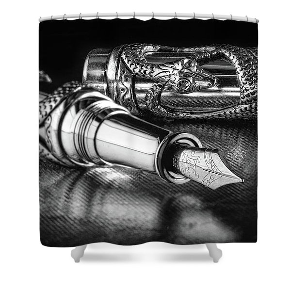 Snake Pen In Black And White Shower Curtain