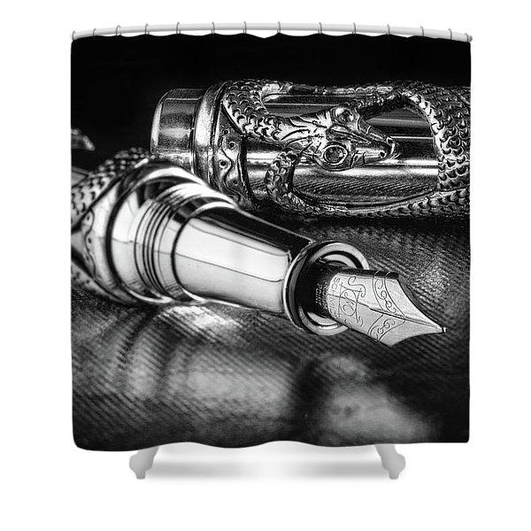 Snake Pen In Black And White Shower Curtain