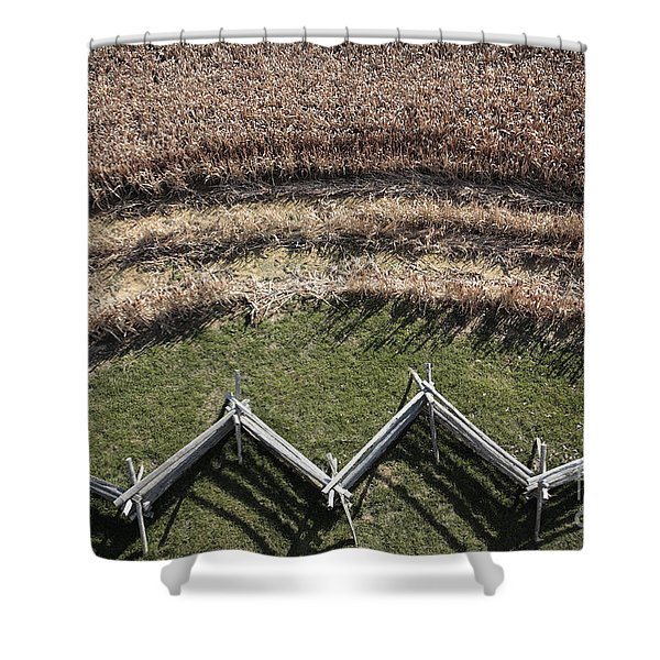 Snake-rail Fence And Cornfield Shower Curtain