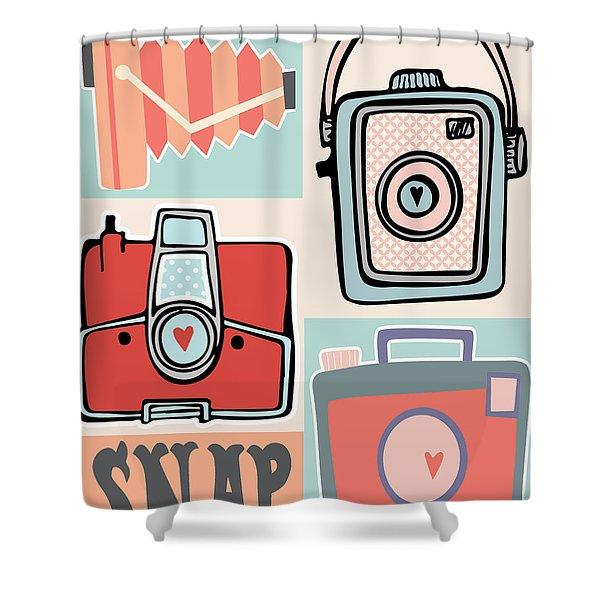 Snap - Vintage Cameras Shower Curtain