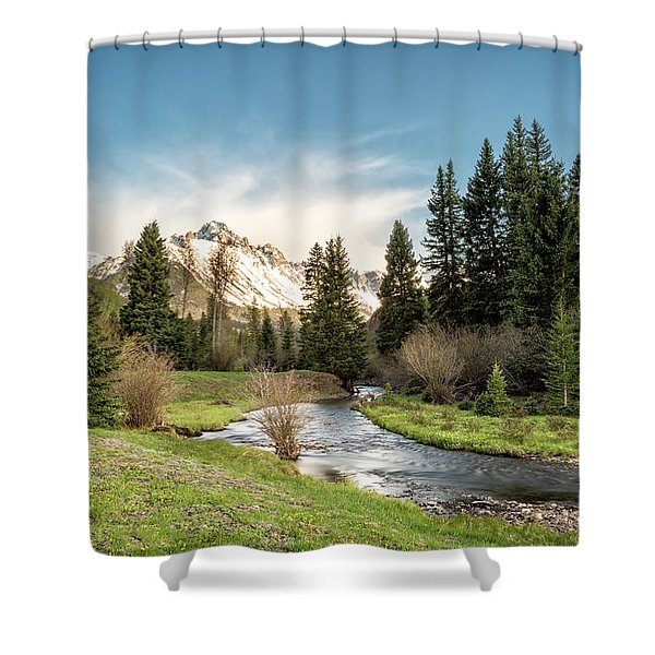 Sneffels And Spring Stream Shower Curtain