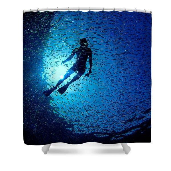 Snorkeler Shower Curtain