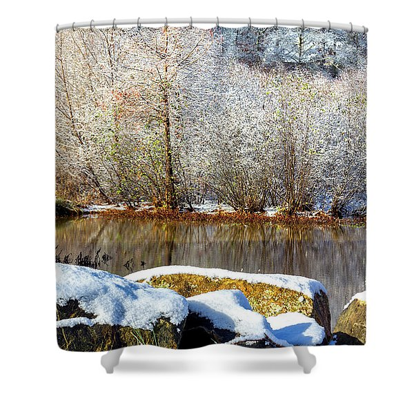 Snow Across The Lake Shower Curtain