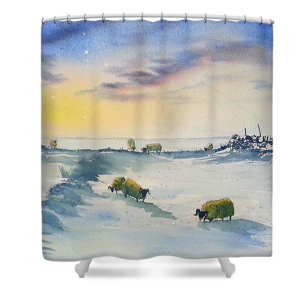 Snow And Sheep On The Moors Shower Curtain