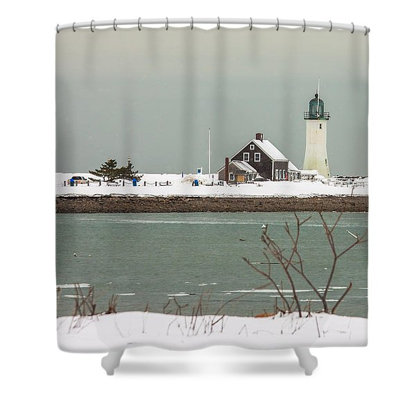 Snow At Scituate Lighthouse Shower Curtain