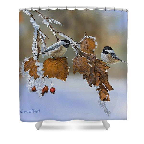 Snow Chickadees Shower Curtain