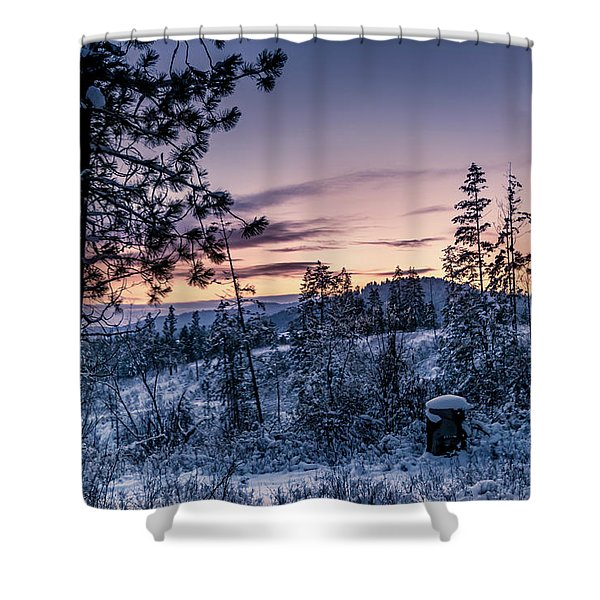 Shower Curtain featuring the photograph Snow Coved Trees And Sunset by Lester Plank