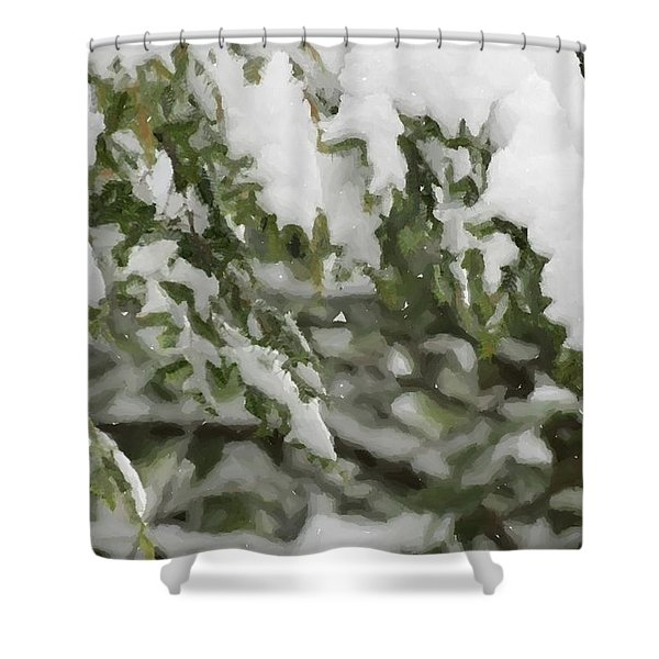 Snow Covered Branches Shower Curtain