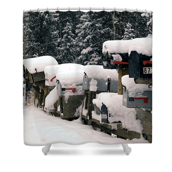 Snow Covered Mailboxes Shower Curtain